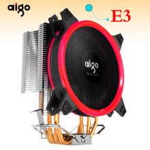 Aigo Icy E3 Cpu Koeler Tdp 250W 4 Heatpipes Dual Pwm 4pin 120Mm Dubbele Ring Led Fan Radiator koeler Voor Lga 775/115x/AM2/AM3/AM4(China)