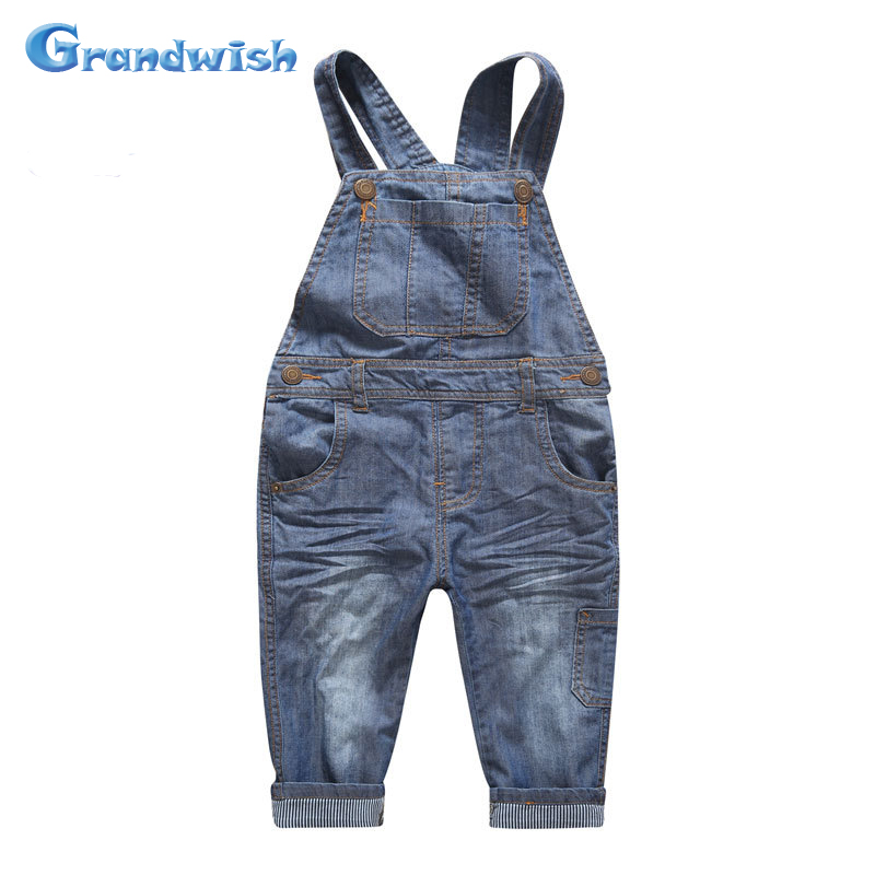 Grandwish Autumn Children Denim Jumpsuits Boys Overalls Kids Velvet Jeans Pants Girls Casual Jeans Pants 24M-10T, SC357