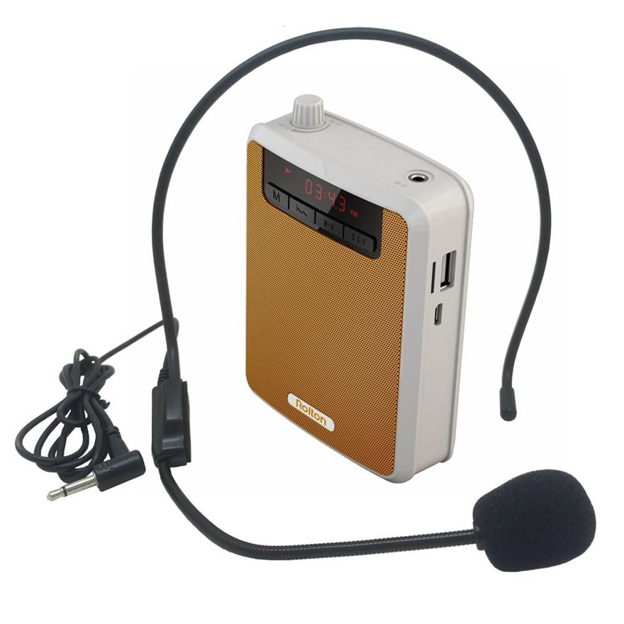Rolton K300 Megaphone Bærbar Voice Amplifier Talje Band Clip Support FM Radio TF MP3 Højttaler Power Bank Tour Guides, Lærere