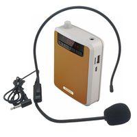 Rolton Megaphone Portable Voice Amplifier Waist Band Clip Support FM TF MP3 Powerbank For Tour Guides