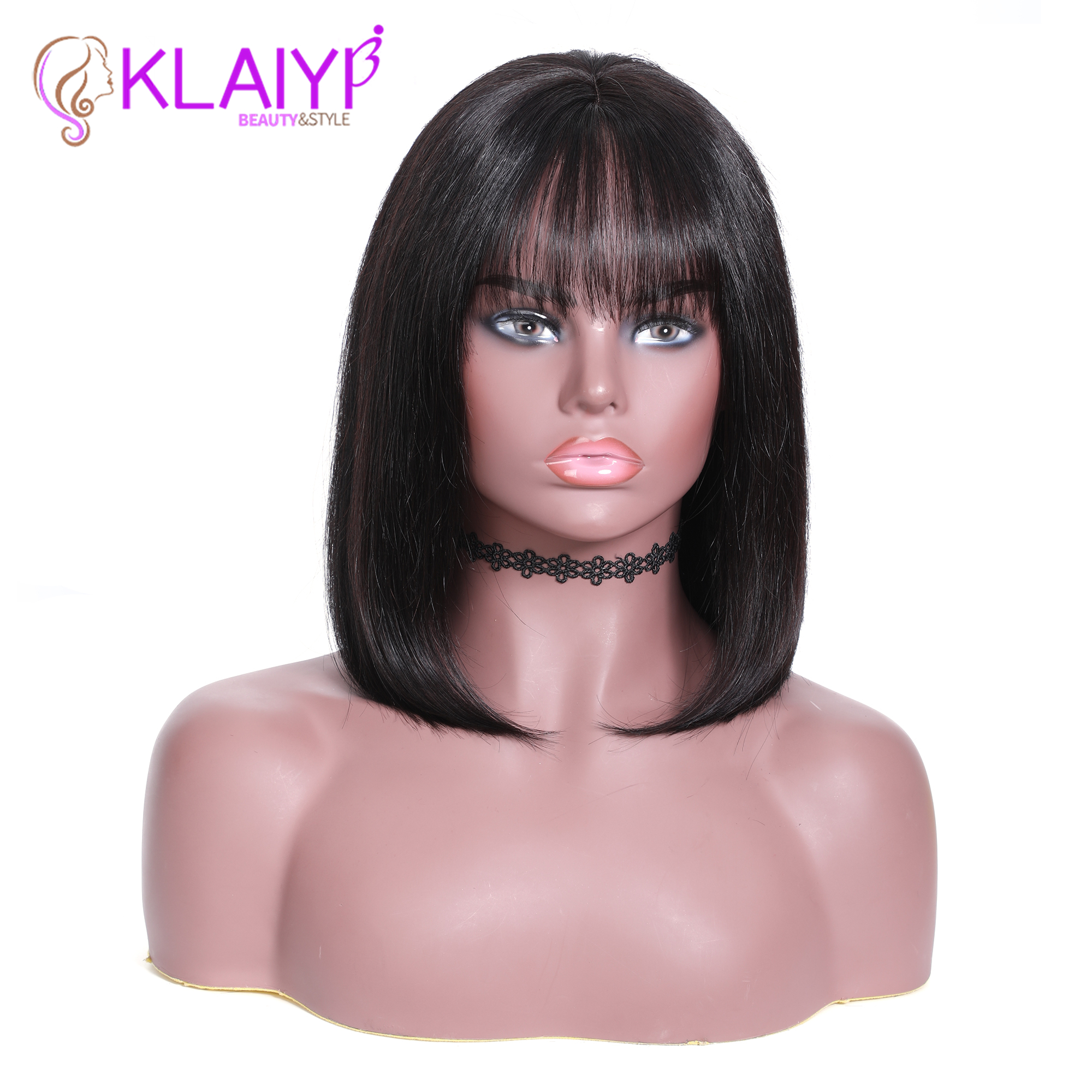 Klaiyi Hair Straight Bob Human Hair Wigs With Bang 8 14 inch Pre Plucked Brazilian Remy