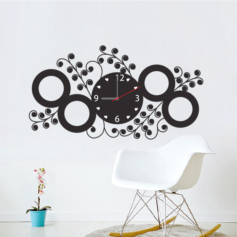 circle flower wall clock wall sticker diy adhesive room interior