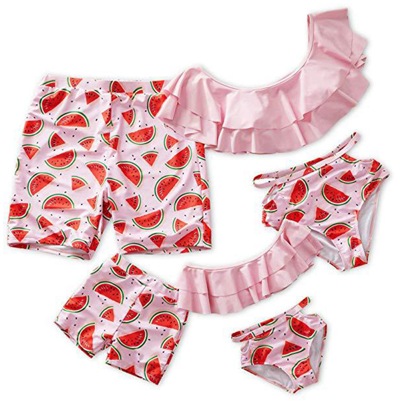 Family Look Mother Daughter Bikini Swimsuits Mommy Dad and Me Matching Clothes Father Son Swimwear Shorts Beach Dresses Outfits