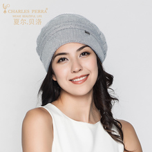 Charles Perra Women Knitted Hats Winter Thicken Double Layer Elegant Casual Wool Blend Women's Hat Warm Female Beanies D305
