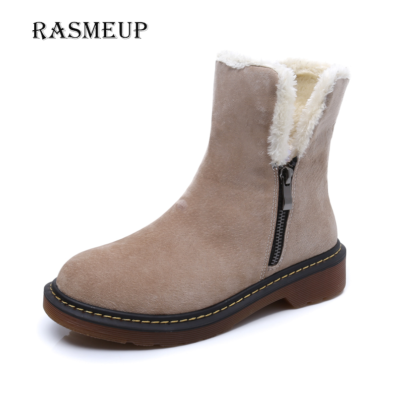 RASMEUP Genuine Leather Suede Women's Snow Boots New Fashion Women Winter Flat Plush Warm Ankle Boots Woman Short Martin Shoes