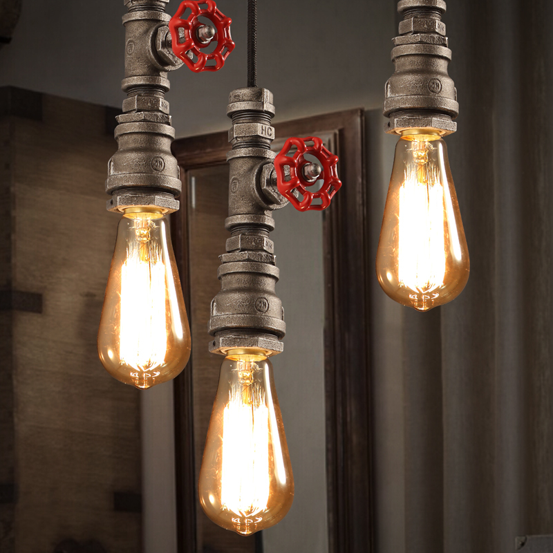 Metal Water Pipe Edison Industrial Vintage Droplight Ceiling Lamp Pendant Loft For Bar Hall Coffee Shop Club Store Restaurant edison vintage style e27 copper screw rotary switch lamp holder cafe bar coffee shop store hall club