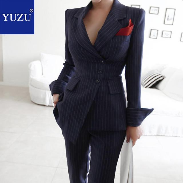 Pants Suits Elegant Woman Winter Black Vertical Stripes Irregular Breasted Turn-down Collar Long Sleeve Office Blazer Jacket