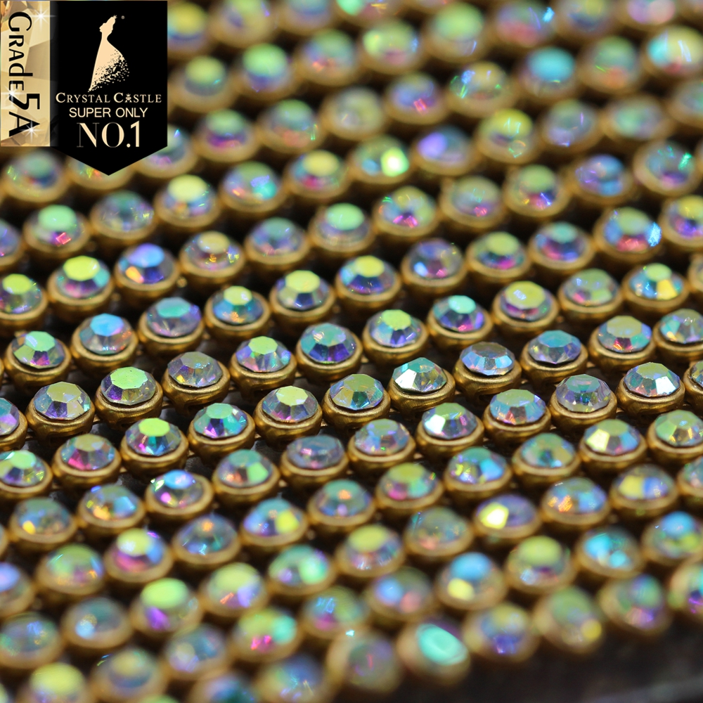 Crystal Castle Sparkle SS8.5 Hotfix Rhinestone Mesh Crystal AB Gold Metal Base Strass Trim Textile Hot fix Rhinestones Sheet