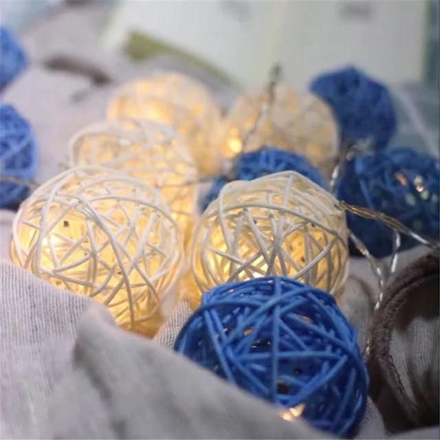 Handmade Rattan Ball Light String Cozy Warm Led Colorful Vine Wired Christmas Festival Wedding Decorative Cane Weave Lamp