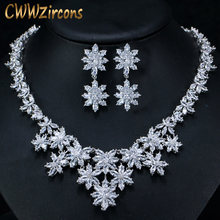 CWWZircons Exquisite White Gold Color Marquise Cubic Zirconia Big Flower Wedding Necklace and Earring Bridal Jewelry Sets T150(China)