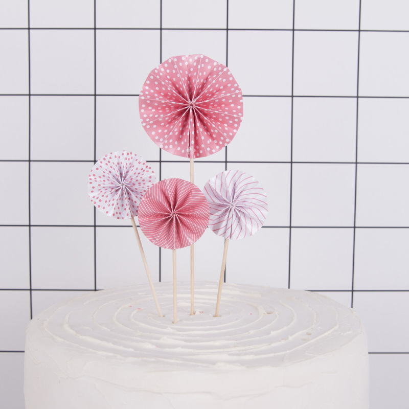 Birthday Cake Topper Mini Paper Fan Flowers Sun Flower Decorations Happy Birthdayparty Decorations Baby Shower Boys Girls 2018 in Cake Decorating Supplies from Home Garden