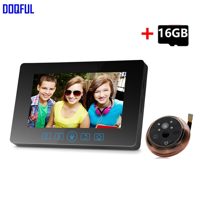 4.3 Inch Monitor Video Door Bell Camera 3.0MP 160 Degree Door Viewer Peephole Doorbell Home Security 16GB SD Card Recording