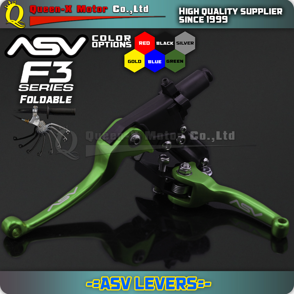 Green aluminium ASV F3 Series 2ND Clutch & Brake Folding Lever Modify Parts Motorcycle enduro Dirt bike offroad KX KLX KXF
