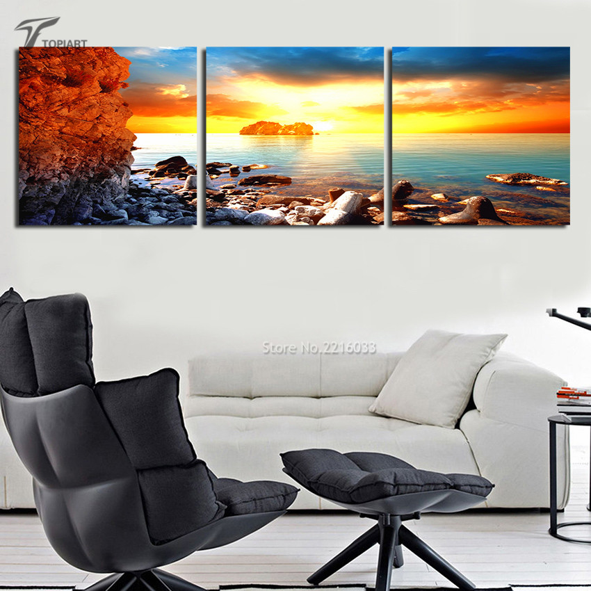 Home Decor Seascape Wall Painting Sunrise On Sea Sharp