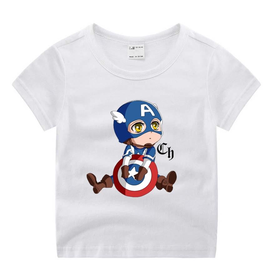 Baby Boy Girl Avengers Captain America Style Shield Funny Cartoon Print T Shirt Kids Summer O-Neck Tops Little Tshirt