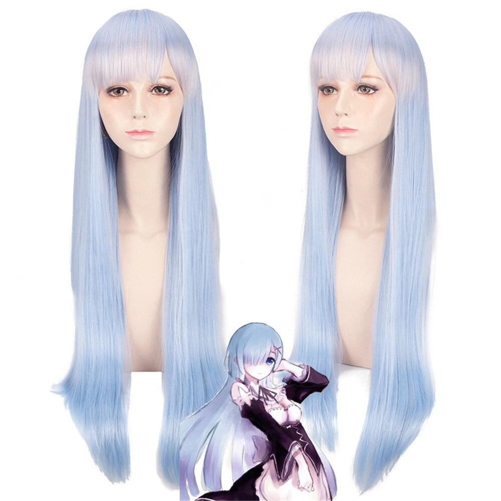Re: жизнь в другом мире от нуля ОЗУ Rem длинные прямые светло-голубой Косплэй парик 80 см аниме костюм вечерние синтетические волосы