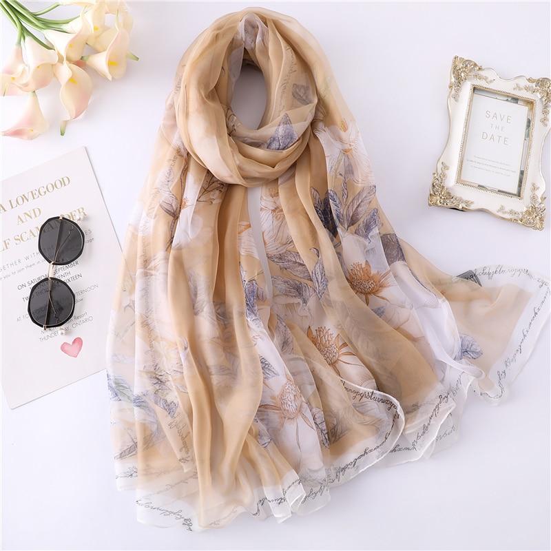 Elegant 2020 Summer Sunscreen Silk Scarf For Women Large Size Floral Print Shawls And Wraps Fashion Lady Pashmina Foulard