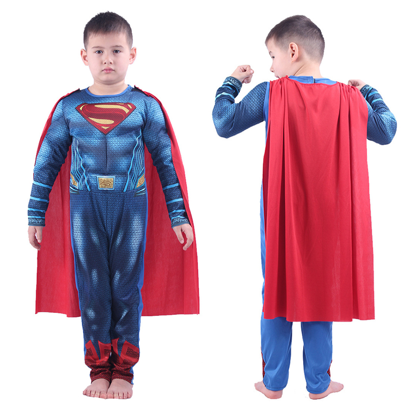 Kids Superman Costumes Boys Halloween Superhero Anime Clothes Children Super Man Jumpsuit Cloak Bodysuits Suit Cospaly Role