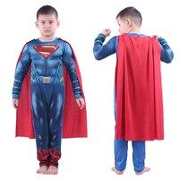Kids Superman Costumes Boys Halloween Superhero Anime Clothes Children Super Man Jumpsuit Cloak Bodysuits Suit Cospaly Role