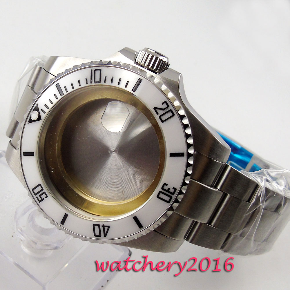 43mm sapphire glass ceramic bezel Watch Case fit ETA 2824 2836 Movement Men's Watch Case цена и фото