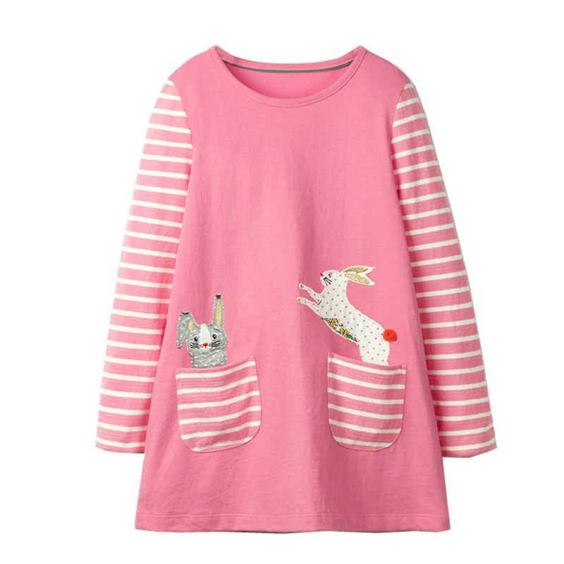 Jumping meters Autumn baby girl clothes kids dresses full sleeve cotton applique animals 2018 fashion design hot kids dress girl jumping meters top brand dresses girls baby new clothing cotton striped applique animals princess autumn spring kids dress girl