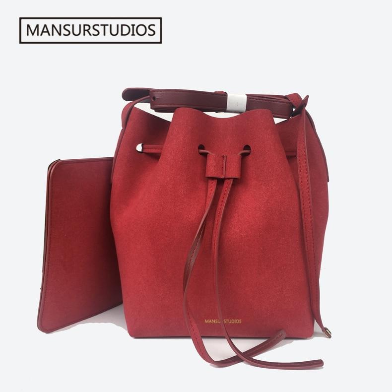2019 MANSURSTUDIOS suede bucket bag mansur women faux suede shoulder bag gavriel lady cross bag free