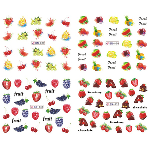 Image 2 - 12 Designs Nail Art Sticker Slider Water Decals Summer Cherry Strawberry Fruit for Transfer Manicure Tip Decoration JIBN829 840