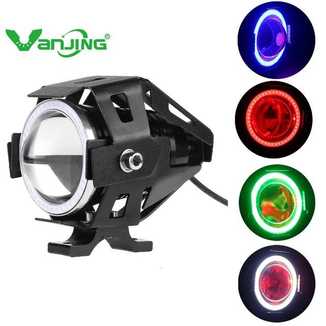 1pc Led Fog Lights For Motorcycles Fari Moto Led Cree Chip U7 waterproof Headlight 125w 12v Motorbike Spotlight Fog Lamps
