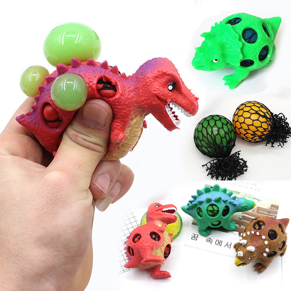 Random Dinosaur Stress Relief Grape Ball Gift Squeeze Toys Kill Time Cute Fidget Mesh Adults Kids Decompression Tool Sensory