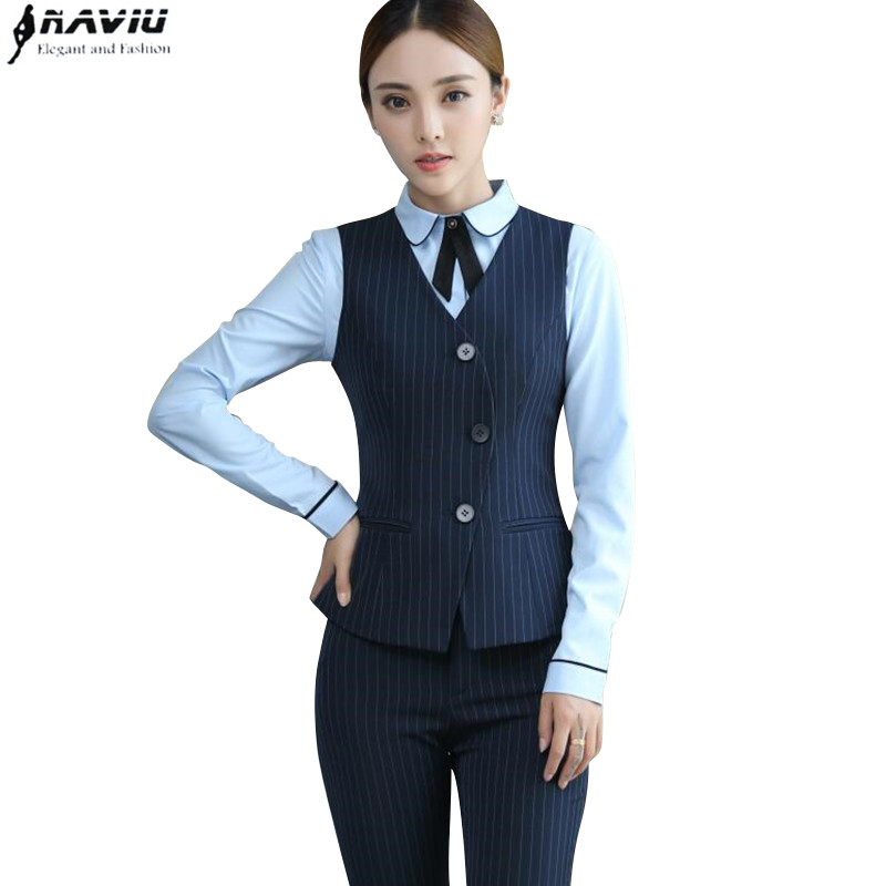Fashion professional suit women formal black navy blue stripe vest pants suits office ladies plus size work wear uniform одежда на маленьких мальчиков