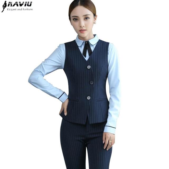 Fashion professional suit women formal black navy blue stripe vest pants  suits office ladies plus size work wear uniform 0551bad2bf