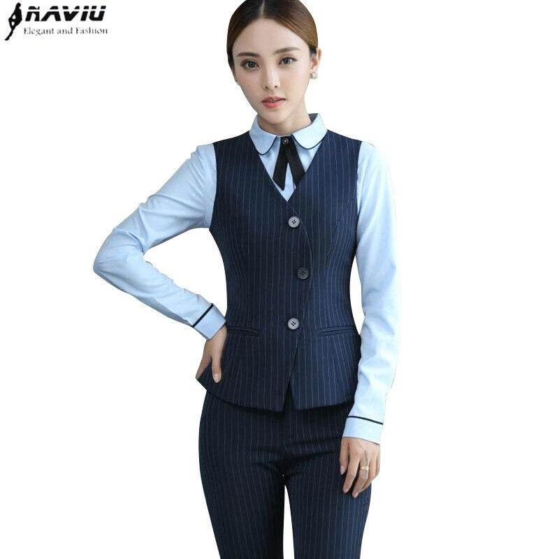 Detalle Comentarios Preguntas sobre Moda profesional traje formal Negro Azul  Marino raya chaleco pantalones trajes Oficina damas más tamaño trabajo  desgaste ... d3578b4ef664