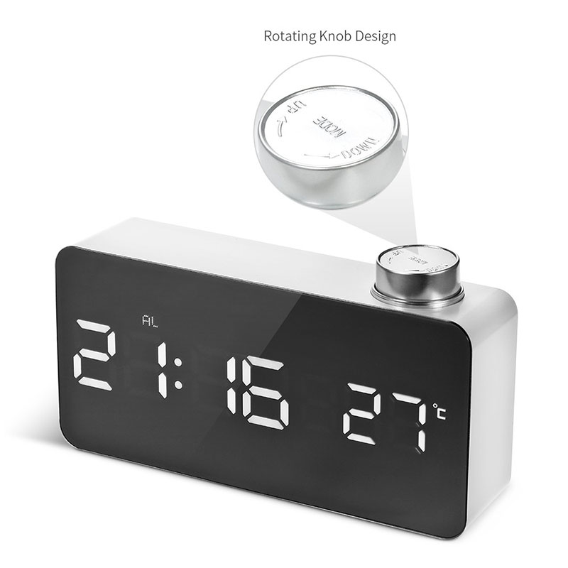 Multifunction LED Temperature Digital Alarm Clock 12H/24H Alarm and Snooze Function Mirror Clock Indoor Thermometer Electronic