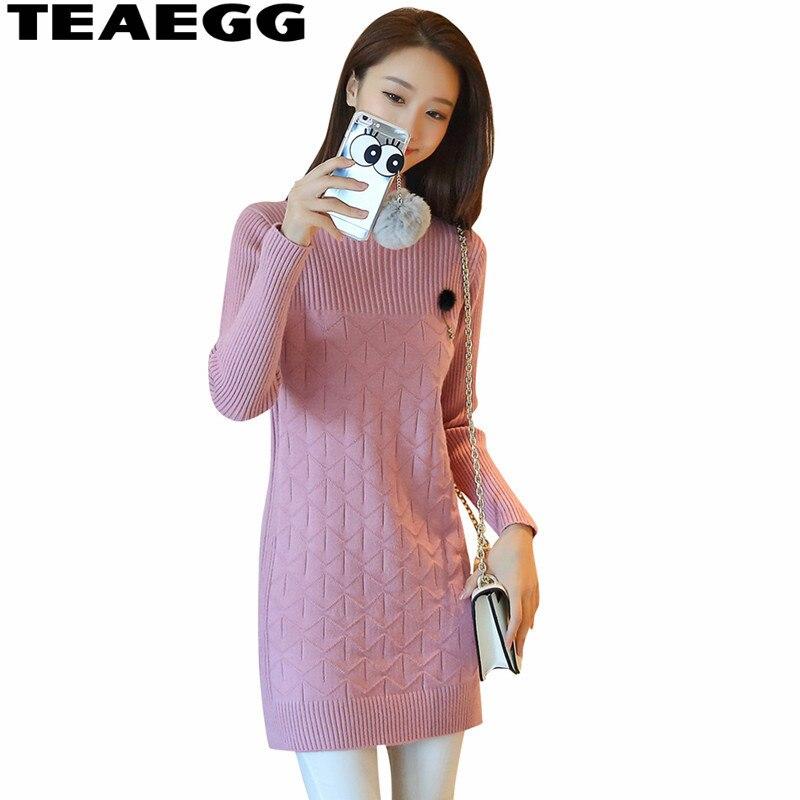 TEAEGG Long Sleeve Autumn Pencil Dress Winter Dresses Women 2017 Mini Elegant Sweater Pink Dress Women Clothing Vestdos AL478