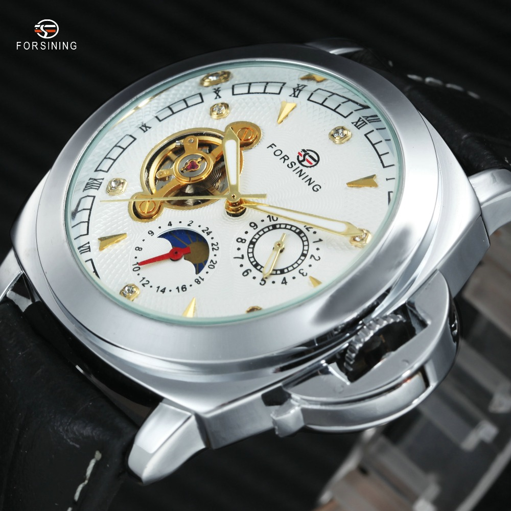 все цены на WINNER Top Brand Luxury Men Automatic Mechanical Watch Tourbillon Wrist Watch Crystal Dial with Luminous Hands Date Calendar онлайн