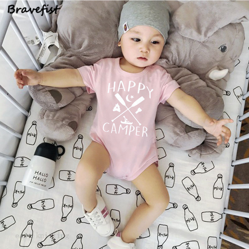 Infant Baby Boys Rompers Sleeveless Cotton Onesie,Happy Camper Outfit Winter Pajamas