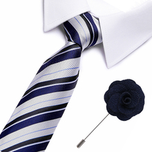 New Brand Blue Tie for Men 100% Silk Necktie Designer Fashion Ties 7.5cm and brooch Wedding Party gift men