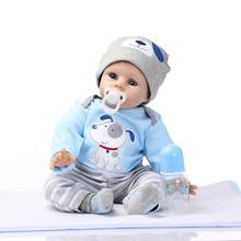 22 inch 55cm  baby reborn Silicone dolls, lifelike doll reborn babies  for Children's toys The new blue clothes doll