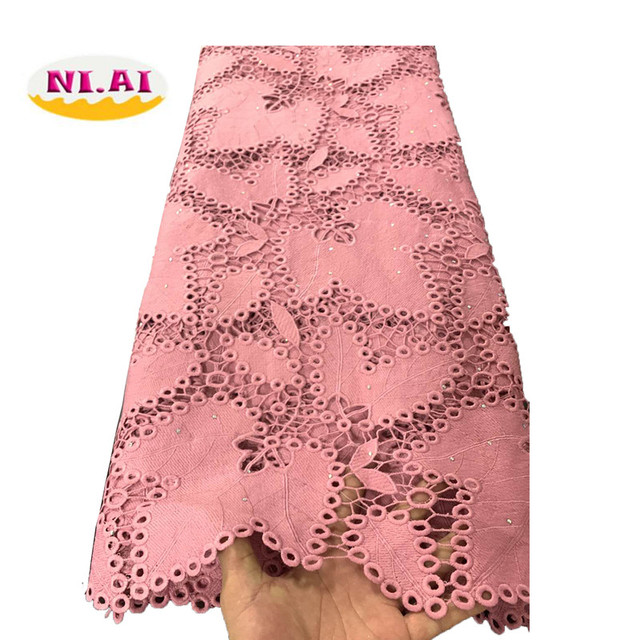 Yellow African Cord Lace Fabric Milk Silk Water Soluble Dress Lace Stones 2019 High Quality Nigerian Guipure Lace Fabric NI1812 1