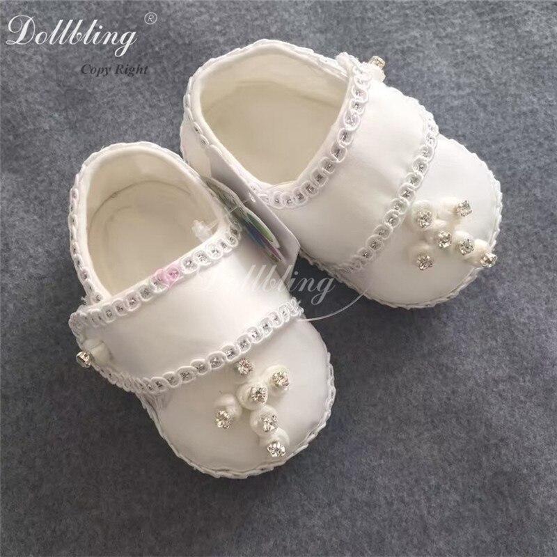 Flower Boy Baby Christening Baptism Nobility Prince White Custom Jesus  Christian Cross Rhinstones Sewing Handmade Infant Shoes 4642c8c0f05b