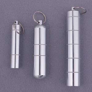 Image 1 - 알 약 상자 캡슐 모양 알루미늄 알 약 케이스 키 체인 야외 포켓 알 약 홀더 컨테이너 섬세 한 의학 상자
