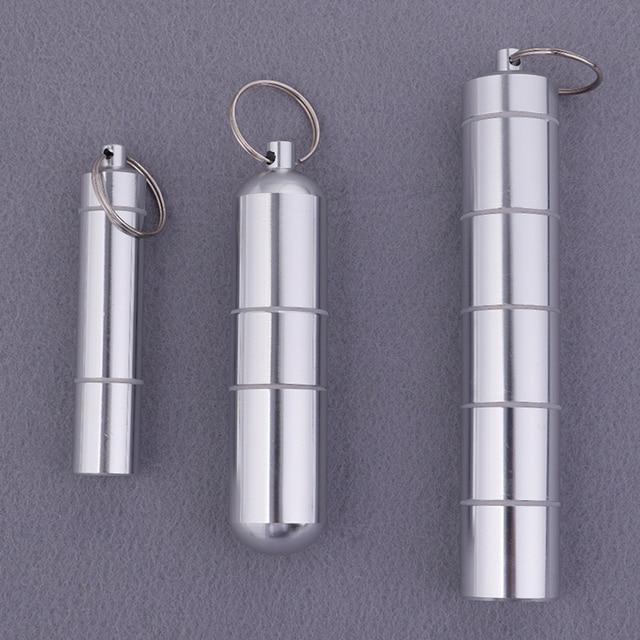 알 약 상자 캡슐 모양 알루미늄 알 약 케이스 키 체인 야외 포켓 알 약 홀더 컨테이너 섬세 한 의학 상자