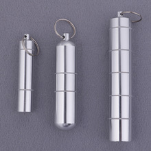 Pill Box Capsule Shape Aluminum Pill Case Keychain Outdoor Pocket Pill Holder Container Delicate Medicine Box