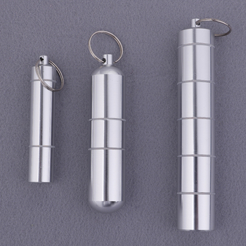цена на Pill Box Capsule Shape Aluminum Pill Case Keychain Outdoor Pocket Pill Holder Container Delicate Medicine Box