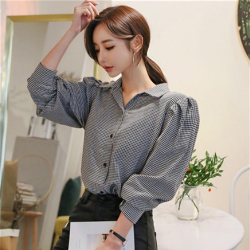 Vintage Elegant Single-breasted Plaid Grid Women Blouse Shirts Turn-down Collar Puff-sleeve Loose Female Tops Blusas Mujer 2019
