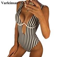Bañador de una pieza a rayas con forma de V para mujer, traje de baño femenino con aros, Monokini para playa, V472, 2020