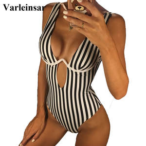 V472 Women Swimwear Striped V shape Wire One Piece Swimsuit Swim Lady Monokini