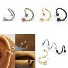 1PCS Piercing Lengua Stainless Steel Spiral Nose Rings Earring Stud Tragus Piercing for Women Men Fashion Pircing Nariz