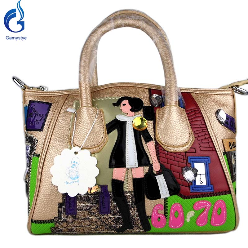 Gamystye women bags handbag Italy Cartoon style shoulder bag Lovely Young girl tote PU cute Casual handbag Black bolsos mujer mtl30 cute dog head style pu shoulder bag white black brown