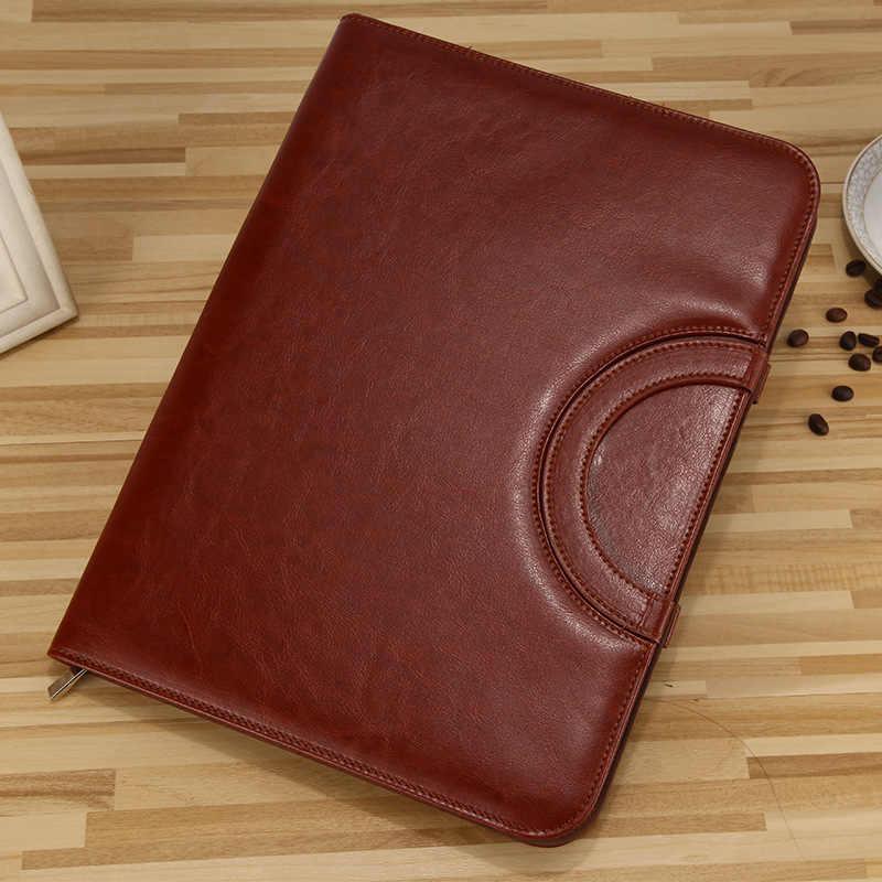 A4 Fichario وثيقة مجلد ملفات الموثق مدير Padfolio حقيبة دفتر مع حاسبة مقبض زيبر بو الجلود حقيبة ملفات